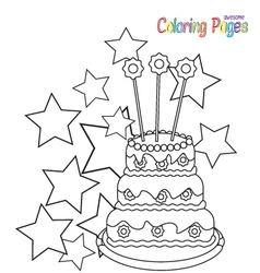 coloring-book-birthday-cake vector image