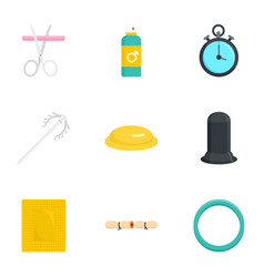Contraception icon set flat style vector