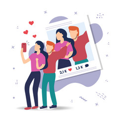 couple man and woman talking selfie on phone app vector image