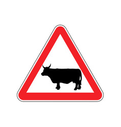 Cow warning sign red farm hazard attention symbol vector