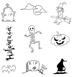 Doodle Halloween skull pumpkins tomb vector