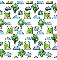 Doodle tree with mountains and bushes plants vector
