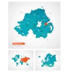 Editable template map northern ireland vector