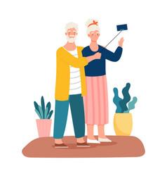 elderly couple take selfie on smartphone vector image