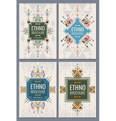Ethnic tribal indian and mexican style brochure vector image