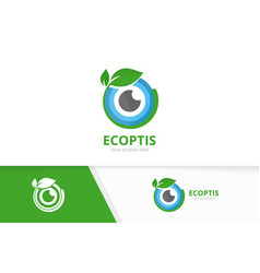 Eye and leaf logo combination optic and vector