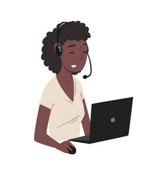 Female call center operator african american vector