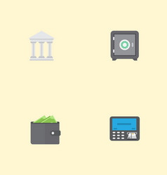 flat icons bank strongbox atm and other vector image