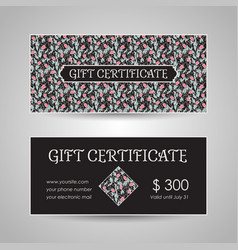 Floral style gift certificate template vector