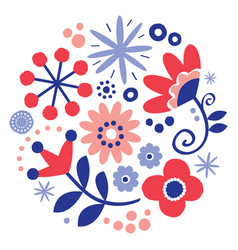 folk art floral greeting card design round vector image