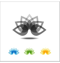 Four lotus icons vector