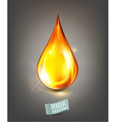 Golden drop of oil on a gray background vector