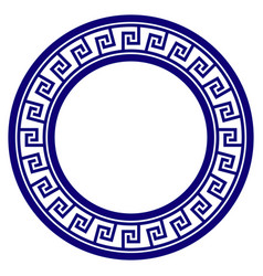 Greek classic round frame template vector