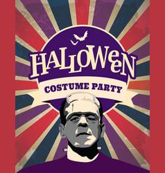 Halloween frankenstein costume party invitation vector