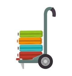 Handcart suitcase bags vector