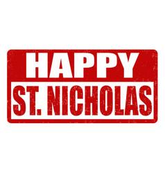 Happy saint nicholas stamp vector