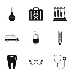Healing icons set simple style vector