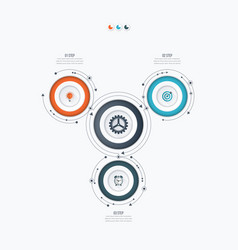 infographics template 3 options with circle vector image