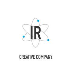 Initial letter ir atom neutron design logo vector