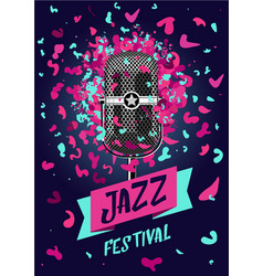 jazz festival music poster with retro microphone vector image vector image
