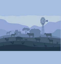 Landscape evening village ranch with livestock vector