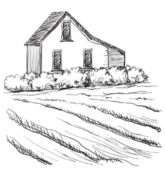 Landscape with Fields and Villages vector