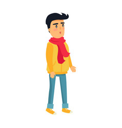 Little standing boy in yellow jacket and red scarf vector