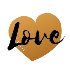 Love inscription with hand drawn gold heart vector image