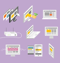Modern gadgets and web page templates collection vector image vector image