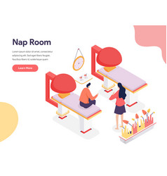 nap room concept isometric design concept web vector image