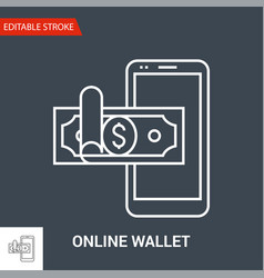 online wallet icon thin line vector image