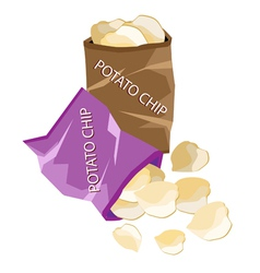 Open Bag of Chips on White Background vector