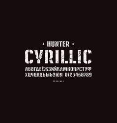 Original stencil-plate sans serif font vector