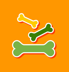 Paper sticker on stylish background bones for pets vector