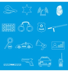 Police whihe outline simple icons set eps10 vector