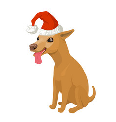 Puppy in santa hat stock vector