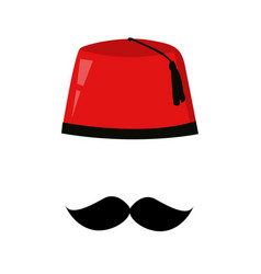 red turkish hat fez and black mustache vector image