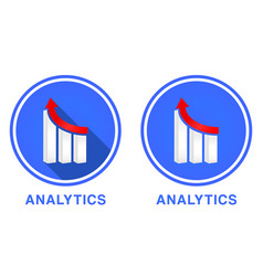 Round flat analytics icon graph with different vector
