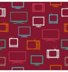 Seamless pattern with TV set vector image