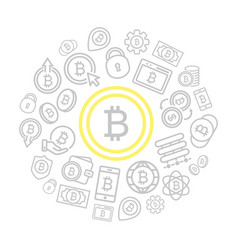 set bitcoin line icons set in shape of vector image