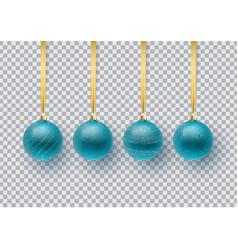 set of blue christmas ball vector image
