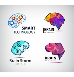 set of brain technology brainstorm logo vector image