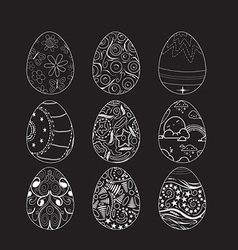 Set of decorative ornamental black and white vector