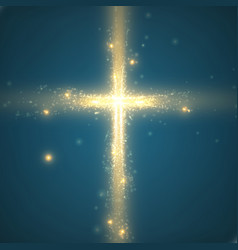 Shining cross on blue background vector