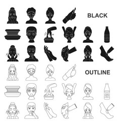 skin care black icons in set collection for design vector image