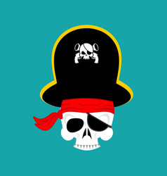 skull pirate portrait in hat eye patch filibuster vector image