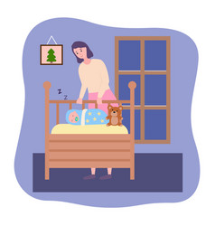 Smiling mother looking at sleeping baby in a crib vector