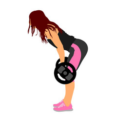 Sport bodybuilding young woman with barbell in gym vector