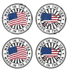 stamp with map flag usa made in usa vector image