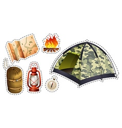 Sticker set of camping equipment vector image